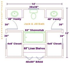 Bathroom Layout Jack And Jill jack and jill bathroom floor plan with bath and shower. | jack and