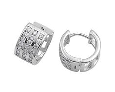 Huggie Hoop Earrings Clear Simulated CZ .925 Sterling Silver -- More info could be found at the image url.