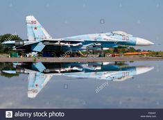 Download this stock image: Kaliningrad Region, Russia. 6th Aug, 2015. A Sukhoi Su-27 fighter aircraft seen at an airfield in Chernyakhovsk during military exercises of Russian Navy Air Service crews on the Baltic Fleet. Credit:  Vitaly Nevar/TASS/Alamy Live News - F02XAT from Alamy's library of millions of high resolution stock photos, illustrations and vectors.