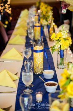 Krista Esterling Photography » Weddings. Portraits. Families. » Minneapolis, MN Blue and Yellow Centerpieces