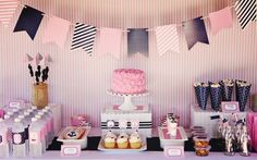 Pink and Navy Nautical Birthday Party - what a fab, preppy dessert table!