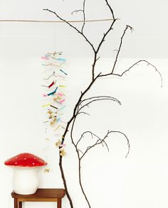 washabi tape mobile, branches, mushroom