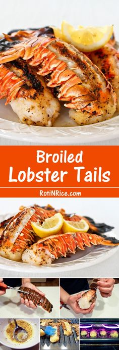 Broiled Lobster Tails - Flavored with lemon pepper butter for that special occasion. It is totally worth it! Get fancy with these succulent Broiled Lobster Tails flavored with lemon pepper butter for that special occasion. It is totally worth it! Lobster Dishes, Lobster Recipes, Fish Dishes, Fish Recipes, Seafood Recipes, Great Recipes, Cooking Recipes, Favorite Recipes, Salmon Recipes