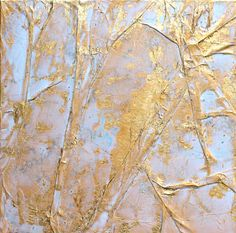 Gold leaf Abstract painting gift 16x16x06 office von AtelierMaltopf