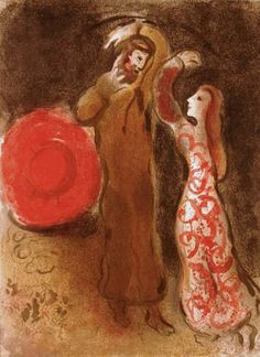 Ruth and Boaz Meet by Chagall 1960
