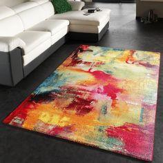 Teppich Modern Design Teppich Leinwand Optik Multicolour Grün Blau Rot Gelb, Grösse:80x150 cm: Amazon.de: Küche & Haushalt