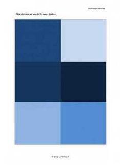 Werkblad vorm en kleur - Licht naar donker blauw