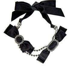 LANVIN Silk Ribbon & Crystal-Embellished Choker. #lanvin #choker