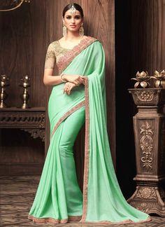 Adorable Embroidered Work Sea Green Art Silk Classic Designer Saree