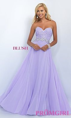 Long Strapless Sweetheart Chiffon Prom Dress by Blush at PromGirl.com