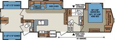 Floor Plan for 2013 KZ Stoneridge 39BH 5th Wheel camper