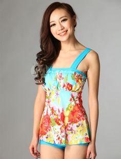 Shoulder Straps Polyester Floral Print Women's Swim Dress - Milanoo.com