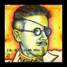 "James Joyce | Acrylic & inks on watercolor paper, 5"" x 5"" (sold) www.flickr.com/people/jrpopartz/"