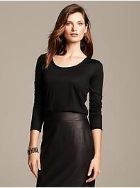 Faux-Leather Trim Whisper Tee