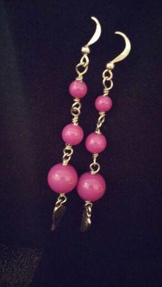 Purple Dangle Earrings with Wing Charm