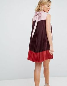 Ted Baker Colourblock Pleated Swing Dress with Bow Back