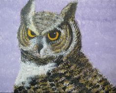 Great horned owl profile. Acrylic on canvas. 2013.