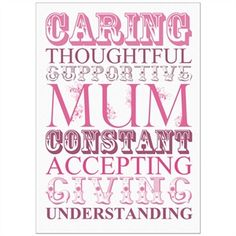 Words to Describe Mum Print with Personalised Frame