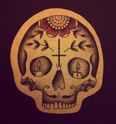 Sugar skull- like evrything except upside down cross