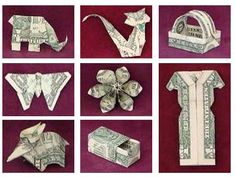 how to make origami using money…for gifts