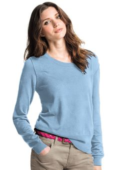 b49dd9ee208 Plus Size Pullover sweater in soft cotton with long sleeves
