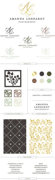 Repeat Pattern - I don't know if you offer this, but i LOVE the gold accented pattern of the leaves. Brand Identity Design, Graphic Design Branding, Logo Branding, Business Branding, Logo Inspiration, Business Inspiration, Arabesque, Brand Style Guide, Monogram Design
