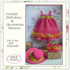 Addition pattern crochet doll outfit accessorie pattern for 17 ins tall chepidolls Crochet Doll Dress, Crochet Doll Clothes, Crochet Doll Pattern, Crochet Patterns, Baby Doll Clothes, Barbie Clothes, Pinafore Pattern, Doll Dress Patterns, Amigurumi Doll