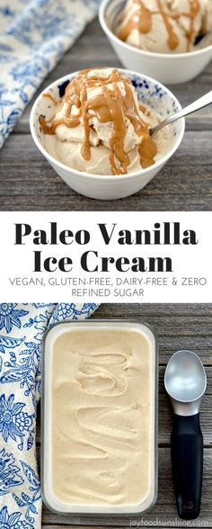 Vegan and Paleo Vanilla Ice Cream Recipe! Made with only 5 ingredients! Gluten dairy and refined sugar free! Made in the Vitamix! Dessert Sans Gluten, Paleo Dessert, Gluten Free Desserts, Dairy Free Recipes, Paleo Recipes, Dessert Recipes, Cooking Recipes, Dinner Dessert, Cooking Pork