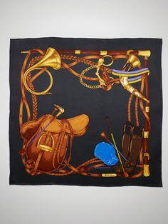 Ralph Lauren Equestrian-Print Silk Scarf