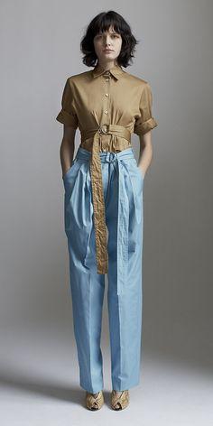 CÉLINE 2014 Spring ready to wear look 15 TRIBAL SATIN POPLIN SHIRT, LAGOON COTTON POPLIN TROUSERS, OPEN TOE WEDGE 105MM IN PYTHON CREAM
