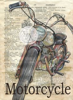 PRINT:  Motorcycle Mixed Media Drawing on Antique Dictionary