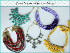 Enter to win FIVE statement necklaces from Our World Boutique on The Mama Experience!