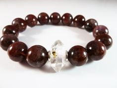 Auralite 23 and Petroleum Enhydro Herkimer Diamond Stretch Bracelet 10mm High Vibration Smooth Gemstone Beads Karen Hill Tribe Silver Spacer by SandiLaneFineArt on Etsy