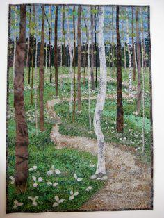 Fiber Art Spring Trillium Trails Art Quilt Confetti por SallyManke