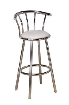 Poundex Y1019W Swivel Bar Stools, White/Silver by Poundex. $94.00. Some assembly may be required; Please see product details. Seat Height 24-Inch H. An attractive design, the chair features a durable chrome metal frame. 360-Degree swivel seat with white faux leather cushion. Come set of 2 in a box. Set of 2, Swivel Bar Stools in White/Silver Color. Save 37% Off!
