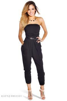 Strapless Casual Harem Style Black Jumpsuit #PinYourWish @shopsexydresses