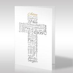 """Ein aus Wörtern konstruiertes Kreuz ist das Motiv dieser einzigartig modernen Trauerkarte. Viele tröstliche, traurige, Hoffnung gebende, ermutigende und christliche Begriffe präsentieren sich in unterschiedlichen Schriftarten und mehrsprachigen Ausführungen auf der hochformatigen weißen Trauerkarte. Ausschließlich das Wort """"Adieu"""" wird durch seine goldene Farbe hervorgehoben. https://www.design-trauerkarten.de/produkt/kreuz-der-worte/"""