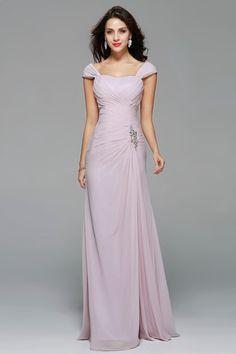 88df3a13766b Charming Sexy Long Brautjungfer Kleid A-Line Liebsten Cap Sleeve Falte  Chiffon Ärmel vestidos Plus