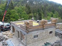 Build a Stone and Log House in France. by Steve Rawcliffe and Thomas J. Photo journal chronicles stone and log building process. Stone Exterior Houses, Stone Houses, Cabin Homes, Log Homes, Stone House Plans, Stone Cabin, House Plan With Loft, Houses In France, Magic House