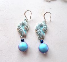Queen of the Sea -Swarovski iridescent coin pearl dangle earrings by RicePaperJewels on Etsy