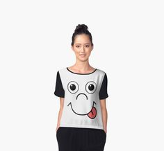 Cute funny smiling face   Women's Chiffon Tops by mrhighsky on redbubble