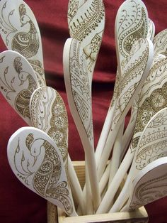 Ornate Peacock with Leaf Henna Inspired Wooden Spoon Set  by Parizadhe