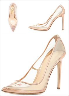 Alejandro Ingelmo mesh pump with specchio trim featuring a 4.5″ covered heel, pointed toe, padded leather footbed and leather lining and sole.