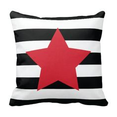 Our custom star throw pillow with rugby stripes is perfect for your bedroom or dorm room.  You can customize it with the colors of your choice or choose the black, white and red colors shown.  This unique, custom accent pillow will make the perfect gift or Christmas present for the special girl or teen in your life.