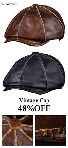 48%off Men s Genuine Leather Warm Octagonal Cap Casual Vintage Newsboy Cap  Golf 0155534c71be