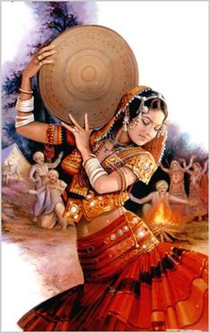 Village girl with duffli Rajasthani Painting, Rajasthani Art, Indian Women Painting, Indian Art Paintings, Indian Illustration, Indian Classical Dance, Dance Paintings, Village Girl, India Art