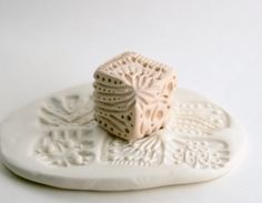"""Clay Stamp Cube Six in One """"Dice"""" Texture Stamp Abstract Handcarved Tool for Ceramics Pottery with Chevron, Lines, Dots"""