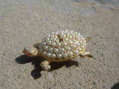 Vintage Turtle Brooch pendant with pearls so by ShoppingLounge