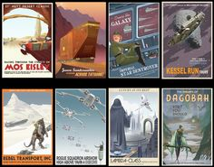 Vintage style Star Wars travel posters by Steve Thomas.