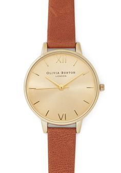 Time Floats By Watch in Gold/Chestnut - Grande. Youre on a cloud of stylish enchantment as you daydream wearing this leather watch from Olivia Burton! Cute Bracelets, Olivia Burton, Vintage Watches, Modcloth, Gold Watch, Women's Accessories, Bracelet Watch, Jewels, Retro Vintage